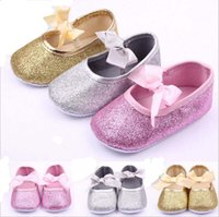 baby wedding shoes - Pink Gold Silver Colour Baby Wedding Shones Baby Cute Toddler Shoes With Bow Leisure Collocation Sandals Shoes Cute New