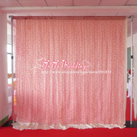 Wholesale 10ft ft Pink Flocking Organza Backdrop Curtain For Wedding Decoration