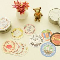 Wholesale 92 stickers in box Vintage circle sticker for decoration remark Stationery Scrapbooking School supplies Zakka