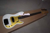 Wholesale Custom Shop String Jazz bass Electric Bass Guitar beautiful white and gold High Quality Best selling gold part headcase