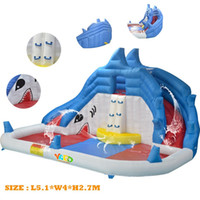 Wholesale New Item Residential Shark Inflatable Water Slide With Water Pool