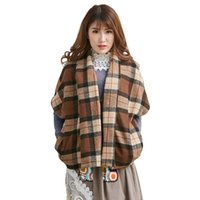 artistic knitting - 2016 Japanese Favorite Original Women Lattice Vintage Artistic Aesthetic Coat Mori Girl Covered Button Coffee Plaid Coat A029