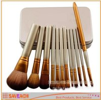 Cheap 12 PCS Cosmetic Facial Make up Brush Tools Professional Makeup Brushes Set Kit With Retail Box with logo DHL Free
