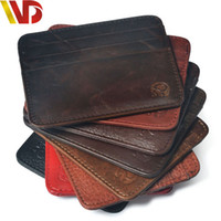 Wholesale First layer cow Skin Brand Credit Card Holder Mini Wallet men Leather ID Case clip coin Purse Bag Pouch cover for apassport money