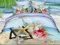 beach quilt fabric - 2014 new D bedding sky blue sand beach starfish printed quilt duvet covers sets full queen size pieces cotton fabric