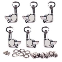 Wholesale 1 Set of Chrome Hole Knob Cap Acoustic Guitar Tuning Pegs Tuners Machine Head L R