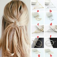 Wholesale Hot New Charm Geometric Triangle Moon Hairpins Hair Clip Women Girls Gold Silver Hair Accessories Tools Gifts Style WX H04
