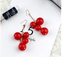 Wholesale 2016 fashion style earrings red ball size ball shape a bunch of grapes Ear Studs Earrings ear ornaments