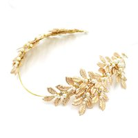 acrylic hairwear - Fashion Gold Hair Accessories New Arrive Beads Wedding Headpiece Cheap Modest Crystal Fascinators Hairwear Sexy Cheap Modest In Stock