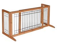 Wholesale Adjustable Dog Gate Solid Wood Construction Indoor Pet Fence Gate Free Standing