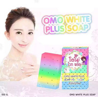 For Face bath jellies - Omo White Plus Soap Five Jelly Bleached White Skin Rainbow Soap Base Face Body Glycerol for Bath Natural Handmade Whitening Soap