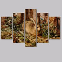 big poster size - 5pcs Retro Big size decoration Easter rabbit wall art picture poster forest blue flower Canvas Painting for living room unframed