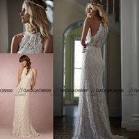 beautiful beach holidays - Bhldn Bridal Gowns Beautiful Elegant Halter Neck Lace Summer Holiday Beach Boho Sheath Wedding Dresses Floral Lace Embroidery