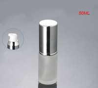 Wholesale Hot ml frosted glass with shiny silver press pump bottle shiny silver cap lotion bottle ml Cosmetic Packaging glass bottle