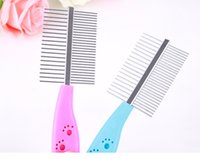 Wholesale Pets Two sided Straight Comb Steel Pins Dog Paw Prints Grooming Brush Pets Cat Hair Clean Combs Tools Grooming Brush cm