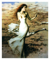 abstract painters famous - White Dress Belle Crane Chinese Famous Painter Works Unframed Spray Figure Painting Home Room Sofa Wall Decor Hang Picture