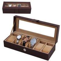 antique window glass - Black Grid Watch Storage Box Glass Window Jewelry Wrist Watches Display Collection Storage Box Case Leather Skmei Caja Reloj HZ10