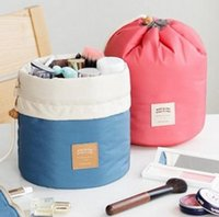 barrel pillow - New Arrival Barrel Shaped Travel Cosmetic Bag Nylon High Capacity Drawstring Elegant Drum Wash Bags Makeup Organizer Storage Bag