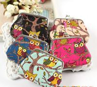 Wholesale Coin purse OWL print variety colors change pouch zero wallet mini handbag Hasp Wallets Key bag Pocket Money Pouch Pochi No bag26