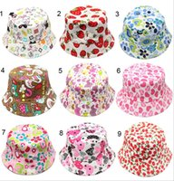 baby girl material - 10pcs Bucket sun hat for girls kids baby summer hat pattern canvas material