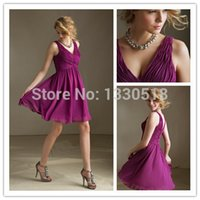 sister of the bride dress - 2015 Sexy Bridesmaid sister of the bride Dresses Mini V Neck A Line Sleeveless In Purple Chiffon With Pleat Custom Made