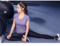 Wholesale Female Yoga Clothes Sport Fitness T Shirt Yoga Slim Jogging Wicking Women Short Sleeve Shirt Clothing Fast Shipping