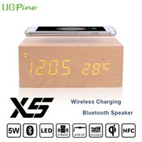 alarm transmitter - UGPine Wooden Qi Wireless Charger Transmitter pad Bluetooth Speaker Alarm Clock For Samsung Galaxy S6edge S5 Note5 S7 S7 Edge