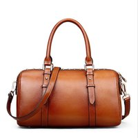 Wholesale Genuine Leather Boston Bags for Women Brown Pillow Vintage Bags with Rivet Interior Slot Pocket CH800017