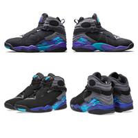 aqua flats - Retro Playoff Aqua VIII Chrome Black new men basketball shoes Phoenix sneakers sports shoes US size free ship s