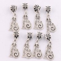 big fat cat - MIC Antique Silver Dots Swirl Fat Cat Metal Big Hole Beads Dangle x33 mm Fit European Charm Bracelets B1158