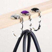 Wholesale Fashion Jewelry Folded Bag Hook Hanger Holder Alloy Fashion Crystal Rhinestone Drop Shipping