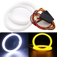 Wholesale 2 Pack V V White Amber Switchback Car Angel Eye Light Halo Circle Ring Head light Lamp for BMW Benz Headlight