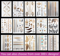 Wholesale 15pcs Temporary Waterproof Flash Tattoos Non toxic Metallic Tattoo Hot Sale Women Tattoo Jewelry And Body Tattoo