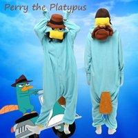 Wholesale Hot Cartoon Perry The Platypus Onesies Kigurumi Costume cosplay Fancy Dress Hoody Pajamas Sleepwear Size S M L XL
