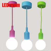 art material shop - Modern Color Pendant Lights E27 Holer AC90 V Silica Gel Material Restaurant Bedrooms Shop Store Art Single Head Pendant Lamps