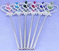 Wholesale Hot Girls Cartoon Frozen Ornament Anna Elsa cosplay Crown Tiaras Children Party Accessories Magic Wand sticks
