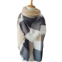 Wholesale Fashion New Women Fashion Plaid Scarf Warm Soft Winter Blanket Pashmina Scarf Oversized Tartan Scarf cm Color S4001