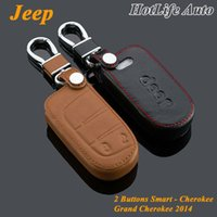 Wholesale Interior Accessories Leather Car Keychain Key Case Cover for Jeep Grand Cherokee Cherokee Wrangler Compass Patriot Smart Key Holder