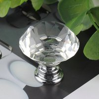 Wholesale 1pcs mm Diamond Clear Crystal Glass Door Pull Drawer Cabinet Furniture Handle Knob Screw Hot Worldwide New Arrival