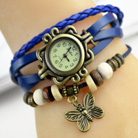 leather supplies wholesale - Available Supply Butterfly Quartz Bracelet Bangle Retro Lovely Womens Girl Weave Wrap Around Leather Watch color