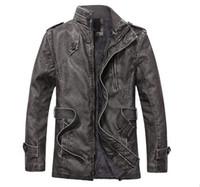 Wholesale 2016 New Autumn Winter Men s Dress Fashion Causal Military Men s Trench Coat Motocycle Leather Jacket Sheepskin Fur Coat Men