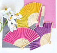 Wholesale colorful silk fans hand fans wedding