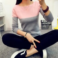 Wholesale 2016 Autumn Winter Black White Cashmere Sweater Women Patchwork Pullovers O Neck Knitted Soft Warm Pullover pull femme hiver FS0695