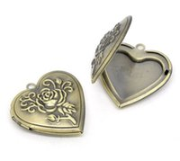 antique rose pictures - Retail Antique Bronze Heart Shape Rose Pattern Picture Photo Frame Locket Pendants x29mm Fit x17mm sold per pack of