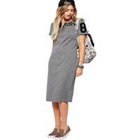 KQ08 Moda 2016 Mulheres Elegante carta impressão esporte cinza Verão vestidos Bodycon joelho comprimento manga curta casuais túnica vestidos