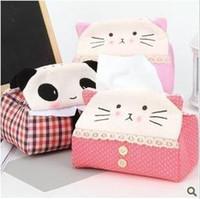 Wholesale Auto Accessories lovely Cartoon Cloth rectangle panda Tissue pumping Kitty tissue box