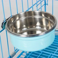 Wholesale Hot Durable Dog Bowl Pet Feeding Tool Hanging Bowl Stainless Steel Food Container Drink Water Bowl Dish for Pet Dogs JJ0009