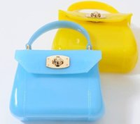 Wholesale new fashion Hot Selling Children Girls Jelly color Handbags rubber Leather Vintage Grid Mini Bags For Baby Kids Princess Party Bag