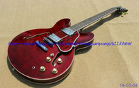 Wholesale New brand electric guitar see thru red with dark red pickguard high guality