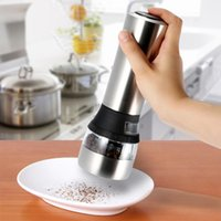 acrylic pepper grinder - 2 in Stainless Steel Portable Electric Salt Pepper Grinder Acrylic Muller Mill Kitchen Accessories Seasoning Grinding Tool H16936